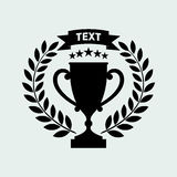 TROPHY CUP, WREATH, STARS AND RIBBON ICON VECTOR IMAGE EPS10 ISO. LATED royalty free illustration
