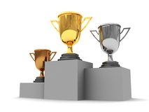 Trophy cups. 3d illustration of three trophy cups over white background Stock Photo