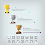 Trophy Cups and award concept. Champions or winners cups icons. Sport Infographic with icons. Stock Images