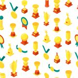 Trophy Cups Awards Seamless Pattern Background Isometric View. Vector. Trophy Cups Awards Seamless Pattern Background on a White Isometric View Symbol of Success Royalty Free Stock Photos