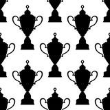 Trophy cups with decorated tops seamless pattern Royalty Free Stock Photos
