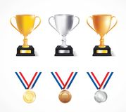 Trophy cups and medals - Illustration Royalty Free Stock Photo