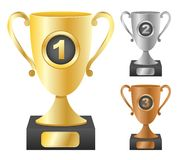 Trophy cups with numbers Royalty Free Stock Images