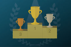 Trophy cups on a pedestal with Laurel wreath. Award icon vector. Trophy cups on a pedestal with Laurel wreath. Award icon or sign. Vector illustration Royalty Free Stock Images