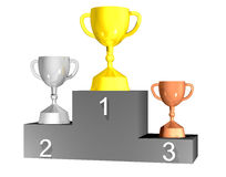 Trophy cups on podium. Three trophy cups on podium with white background Stock Images