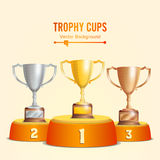 Trophy Cups On Podium. Golden, Bronze, Silver. Winners Pedestal Concept With First, Second And Third Place. Award Stock Image