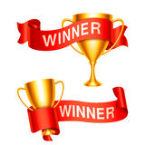 Trophy Cups with Ribbons Royalty Free Stock Photo