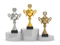 Trophy cups standing Royalty Free Stock Image