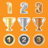 Trophy cups stickers. Vector illustration Royalty Free Stock Photos