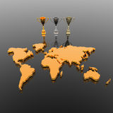Trophy cups with world map. In 3d Royalty Free Stock Photo