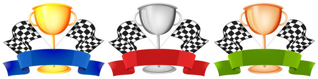Trophy design in three colors Stock Photo