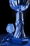 Trophy. Detail of a chromed trophy in exceptionally light royalty free stock images