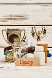 Trophy and dope drugs. Lots of assorted pills and injections. Violation of sport ethics and law Stock Image