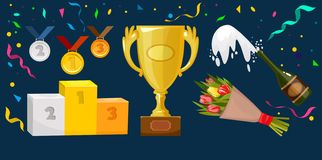 Trophy elements vector collection. Medals, flowers, winner cup, award winning podium pedestal, champagne, confetti and ribbons vector illustration