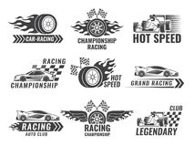 Trophy, engine, rally and others symbols for race sport labels. Vector rally sport label, winner champion flag, emblem banner car championship illustration Stock Photos
