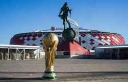Trophy of the FIFA World Cup. April 9, 2018 Moscow, Russia Trophy of the FIFA World Cup against the backdrop of the Spartak stadium, where the World Cup 2018 Stock Photo