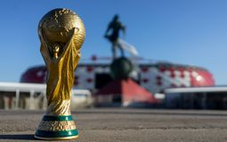 Trophy of the FIFA World Cup. April 9, 2018 Moscow, Russia Trophy of the FIFA World Cup against the backdrop of the Spartak stadium, where the World Cup 2018 Royalty Free Stock Photography