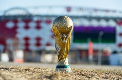 Trophy of the FIFA World Cup. April 9, 2018 Moscow, Russia Trophy of the FIFA World Cup against the backdrop of the Spartak stadium, where the World Cup 2018 Stock Image
