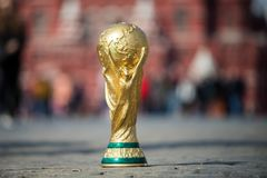 Trophy of the FIFA World Cup. April 16, 2018 Moscow. Russia Trophy of the FIFA World Cup on the Red Square in Moscow Royalty Free Stock Photos