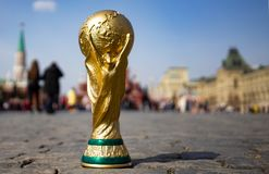 Trophy of the FIFA World Cup. April 16, 2018 Moscow. Russia Trophy of the FIFA World Cup on the Red Square in Moscow Royalty Free Stock Images