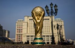 Trophy of the FIFA World Cup. April 16, 2018 Moscow. Russia Trophy of the FIFA World Cup on the Red Square in Moscow Stock Images