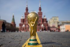 Trophy of the FIFA World Cup. April 16, 2018 Moscow. Russia Trophy of the FIFA World Cup on the Red Square in Moscow Stock Photography