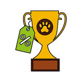 Trophy first place pet isolated icon. Vector illustration design Royalty Free Stock Photos