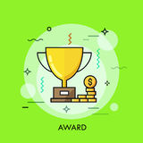 Trophy for first place winner icon thin line Royalty Free Stock Photo