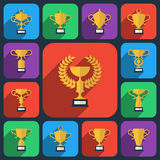 Trophy flat icons Stock Images