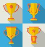 Trophy Flat Icons Set of Success Award Royalty Free Stock Image