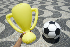Trophy and Football Soccer Ball at Copacabana Rio Brazil Stock Photography