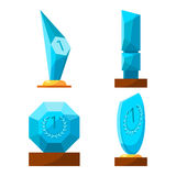 Trophy glass awards collection rewards of different shape isolated. Stock Photos