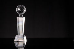 Trophy. Glass trophy in black background Stock Photo