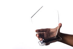 Trophy. Glass trophy hold by a male figure Stock Photography