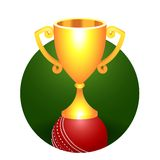 Trophy gold cricket cup on a green background Stock Photography