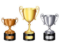 Trophy gold silver and bronze. Gold silver and bronze champion trophy  for 1st, 2nd, and 3rd places isolated on white background Royalty Free Stock Photo
