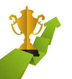 Trophy gold winner arrow design. Trophy cup arrow infographic ribbon gold winner competition success icon. Flat and Isolated design. Vector illustration Royalty Free Stock Photo