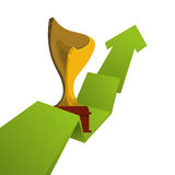 Trophy gold winner arrow design. Trophy cup arrow infographic ribbon gold winner competition success icon. Flat and Isolated design. Vector illustration Stock Photos