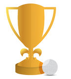 Trophy and golf ball illustration design. Over white Royalty Free Stock Photography