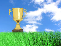 Trophy in the Grass. A classic Fridge. 3D rendered Illustration Royalty Free Stock Images