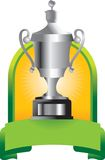 Trophy in green banner Stock Photography