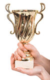 Trophy in hands Royalty Free Stock Images