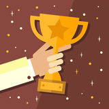Trophy, hands holding winner cup vector illustration in flat style Royalty Free Stock Photos
