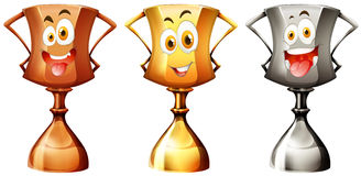 Trophy with happy face Stock Photo