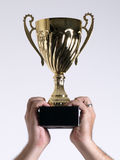 Trophy held above head Royalty Free Stock Images