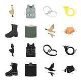 Flying ducks, flask, boots, tent..Hunting set collection icons in black,cartoon style vector symbol stock illustration. A trophy in his hand, a steel trap, a Royalty Free Stock Images