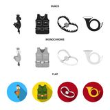 A trophy in his hand, a steel trap, a hunting vest with patronage, a horn..Hunting set collection icons in black, flat. Monochrome style vector symbol stock Stock Photos