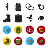 Flying ducks, flask, boots, tent..Hunting set collection icons in black,flet style vector symbol stock illustration web. A trophy in his hand, a steel trap, a Stock Image