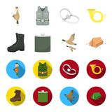 Flying ducks, flask, boots, tent..Hunting set collection icons in cartoon,flat style vector symbol stock illustration. A trophy in his hand, a steel trap, a Stock Photo