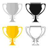 Trophy icon in cartoon style  on white background. Winner cup symbol stock vector illustration. Royalty Free Stock Image